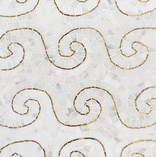 Wimbi, a hand-cut stone mosaic, shown in polished Calacatta Gold and Gold glass. Designed by Joni Vanderslice as part of the J. Banks Collection for New Ravenna.