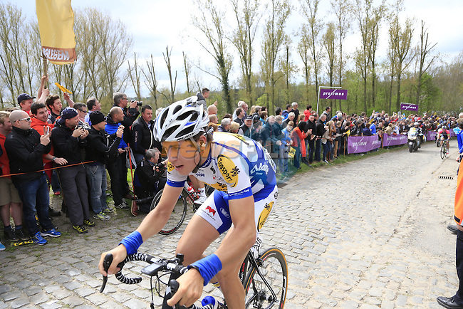 The breakaway group, including Jelle Wallays (BEL) Topsport Vlaanderen-Baloise, climb the Molenberg during the 2014 Tour of Flanders, Belgium.<br /> Picture: Eoin Clarke www.newsfile.ie