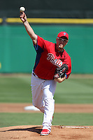 Philadelphia Phillies starting pitcher Vance Worley #49 delivers a pitch during a spring training game against the Houston Astros at Bright House Field on March 7, 2012 in Clearwater, Florida.  (Mike Janes/Four Seam Images)