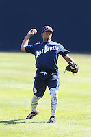 Corey Kimber (20) of the Tri-City Dust Devils throws before a game against the Vancouver Canadians at Nat Bailey Stadium on July 23, 2015 in Vancouver, British Columbia. Tri-City defeated Vancouver, 6-4. (Larry Goren/Four Seam Images)