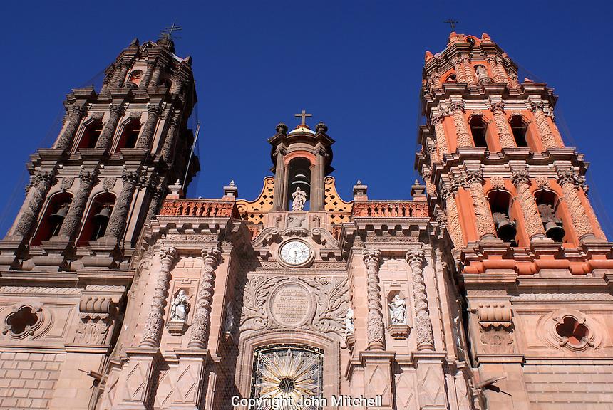 Facade of the baroque style cathedral in the city of San Luis de Potosi, Mexico