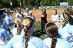 24 April 2016: UNC head coach Donna J. Papa talks to her players before the game. The University of North Carolina Tar Heels hosted the University of Notre Dame Fighting Irish at Anderson Stadium in Chapel Hill, North Carolina in a 2016 NCAA Division I softball game. UNC won game 1 of the doubleheader 7-4.