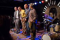 FROM LEFT: Ethan Iverson, David Williams, Joshua Redman and Victor Lewis pose for the audience after performing during the Monk 100 festival at the Durham Fruit and Produce Company in Durham, NC Wednesday, October 25, 2017. (Justin Cook for The New York Times)