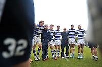 The Bath team huddle together after the match. Amlin Challenge Cup semi-final, between London Wasps and Bath Rugby on April 27, 2014 at Adams Park in High Wycombe, England. Photo by: Patrick Khachfe / Onside Images