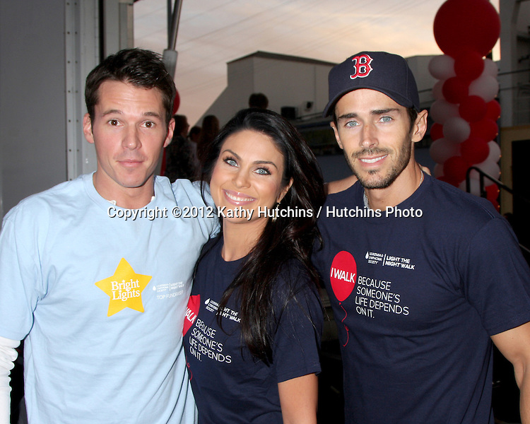 LOS ANGELES - OCT 6:  Mark Hapka, Nadia Bjorlin, Brandon Beemer attends the Light The Night Walk to benefit The Leukemia & Lymphoma Society at Sunset Gower Studios on October 6, 2012 in Los Angeles, CA