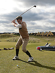 Junior Captain P.J. Kierans tees off at the Captain's Drive in at Seapoint Golf Club. Photo:Colin Bell/pressphotos.ie