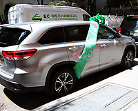 NEW YORK, NY June 15, 2017 Sunny Hostin, Jedediah Bila,  host of  the View  show off  2017 HighLander Hybrd Sport uitility vehicle  given by Toyota Financial Service in support Girl Scout Troop 600 compose of  homeless girls  in New York June 15, 2017. Credit:RW/MediaPunch