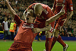 24.02.2011 Europa League Football from Anfield Liverpool v Sparta Prague. Liverpool forward Dirk Kuyt (left) is congratulated by teammate Martin Skrtel after scoring the only goal of the game in the second half.