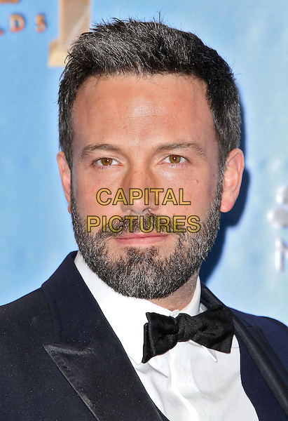 Ben Affleck.Press Room at the 70th Annual Golden Globe Awards held at the Beverly Hilton Hotel, Hollywood, California, USA..January 13th, 2013.globes headshot portrait black white bow tie tuxedo beard facial hair .CAP/ADM/SLP/COL.©Collin/Starlitepics/AdMedia/Capital Pictures.