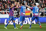 Levante UD´s Victor Casadesus Castano, Jordi Xumetra Feliu and Ivan Ramis Barrios celebrates a goal during 2014-15 La Liga match between Rayo Vallecano and Levante UD at Vallecas stadium in Madrid, Spain. February 28, 2015. (ALTERPHOTOS/Luis Fernandez)