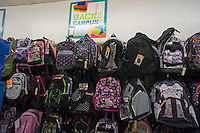 A back to school display is seen at a KMart department store in New York on Thursday, August 2, 2012. Stores are beginning to offer earlier than usual back to school specials. (© Richard B. Levine)