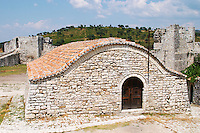 The old Ottoman garrisons garnison building that housed the soldiers. Berat upper citadel old walled city. Albania, Balkan, Europe.
