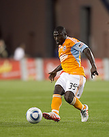 Houston Dynamo midfielder Anthony Obodai (35) passes the ball. The New England Revolution defeated Houston Dynamo, 1-0, at Gillette Stadium on August 14, 2010.