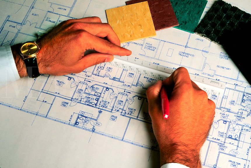 Architect's hands at work