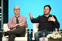 """PASADENA, CA - JANUARY 31: (L-R) Creators/Executive Producers Jordan Cahan and David Caspe of """"Black Monday"""" attend the Showtime portion of the 2019 Television Critics Association Winter Press Tour at the Langham Huntington on January 31, 2019, in Pasadena, California. (Photo by Frank Micelotta/PictureGroup)"""