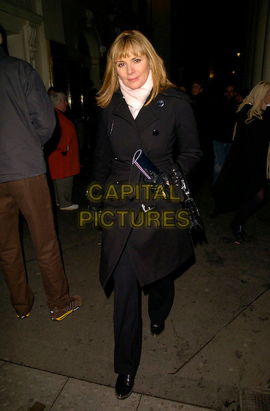 "KIM CATTRALL.""The Lady From Dubuque"" gala evening, Theatre Royal Haymarket, London, UK..March 19th, 2007.full length black trousers jacket coat white scarf gloves bag purse.CAP/CAN .©Can Nguyen/Capital Pictures"