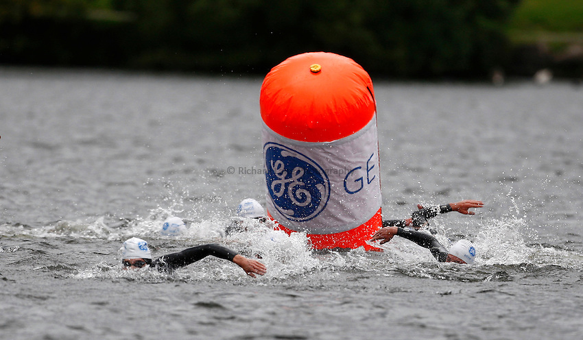 Photo: Richard Lane/Richard Lane Photography. GE Parc Bryn Bach Triathlon. 19/09/2010. Competitiors swim in the Elite Mens' race.