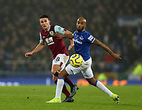 26th December 2019; Goodison Park, Liverpool, Merseyside, England; English Premier League Football, Everton versus Burnley; Ashley Westwood of Burnley and Fabian Delph of Everton compete for the ball - Strictly Editorial Use Only. No use with unauthorized audio, video, data, fixture lists, club/league logos or 'live' services. Online in-match use limited to 120 images, no video emulation. No use in betting, games or single club/league/player publications