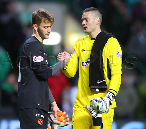 25.10.2015. Glasgow, Scotland. Scottish Premier League. Celtic versus Dundee United. Craig Gordon speaks to Luis Zwick after the final whistle