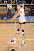 24 September 2010:  FIU's Ines Medved (11) saves the ball in the second set as the FIU Golden Panthers defeated the University of Denver Pioneers, 3-0 (29-27, 25-16, 25-20), at U.S Century Bank Arena in Miami, Florida.