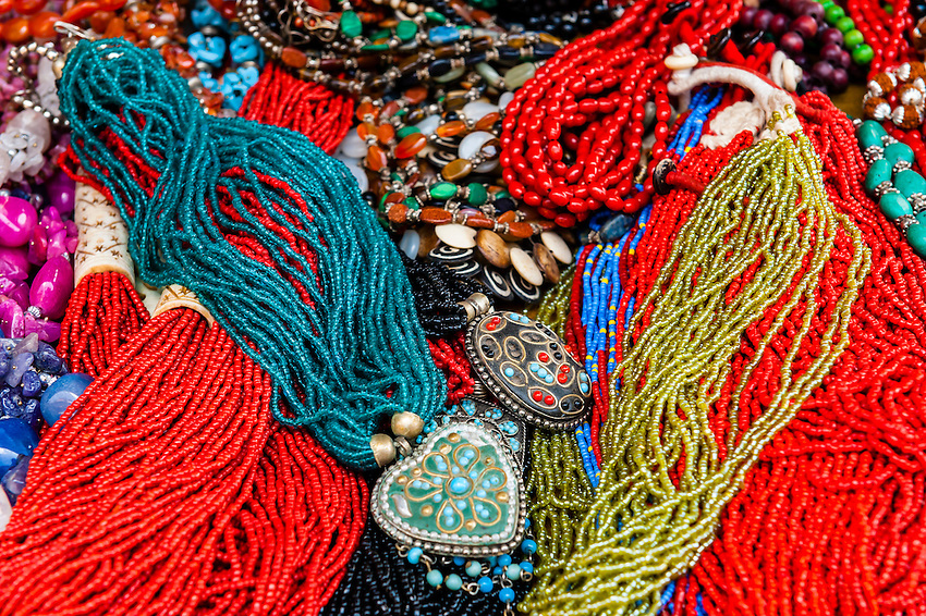 Beaded necklaces, Patan (Lalitpur), Kathmandu Valley, Nepal.