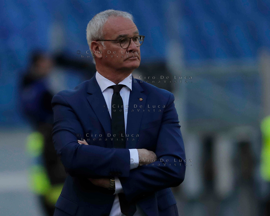 Claudio Ranieri coach of Roma  during the  italian serie a soccer match, AS Roma -  SSC Napoli       at  the Stadio Olimpico in Rome  Italy , March 31, 2019