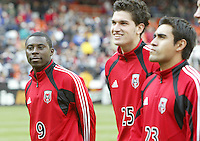 3 April 2004: Freddy Adu, Santino Quaranta (middle) and Eliseo Quintanilla (right) before the game against Earthquakes at RFK Stadium in Washington D.C..  Credit: Michael Pimentel / ISI