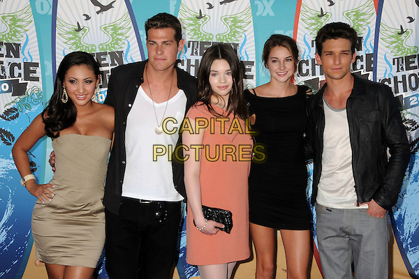 FRANCIA RAISA, GREG FINLEY, INDIA EISLEY, SHAILENE WOODLEY & DAREN KAGASOFF.Teen Choice Awards 2010 - Arrivals held at Universal Studios Gibson Amphitheatre, Universal City, California, USA.August 8th, 2010.half length beige grey gray strapless black white jacket pink clutch bag dress hand on hip gold  .CAP/ADM/BP.©Byron Purvis/AdMedia/Capital Pictures.