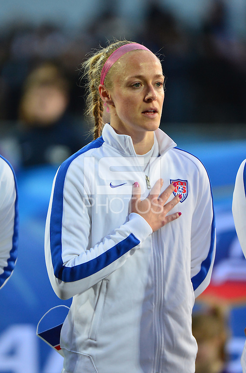 Lorient, France. - Sunday, February 8, 2015: Becky Sauerbrunn (4) of the USWNT. France defeated the USWNT 2-0 during an international friendly at the Stade du Moustoir.