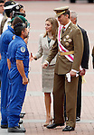 Prices of Asturias Felipe de Borbon (r) and Letizia greets the soldiers during a military parade marking the Armed Forces Day on June 2, 2012 in Valladolid.(ALTERPHOTOS/Acero)