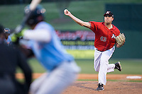 Kannapolis Intimidators relief pitcher Taylore Cherry (43) delivers a pitch to the plate against the Hickory Crawdads at Kannapolis Intimidators Stadium on April 10, 2016 in Kannapolis, North Carolina.  The Intimidators defeated the Crawdads 10-3.  (Brian Westerholt/Four Seam Images)