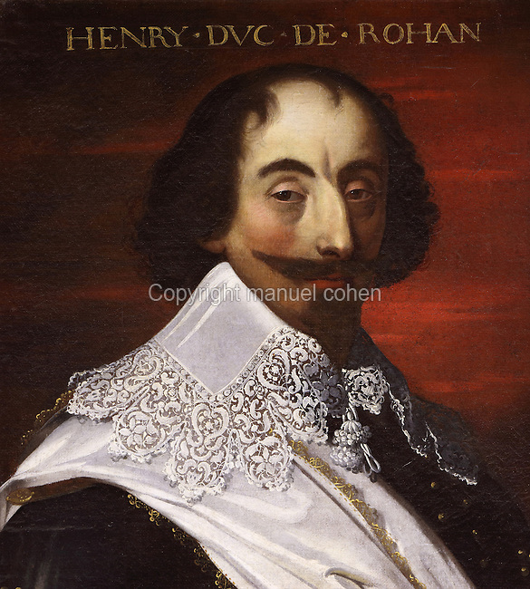 Portrait of Henry, Duke of Rohan, 1579-1638, Prince of Leon, French soldier, writer and leader of the Huguenots, in the Galerie des Illustres or Gallery of Portraits, early 17th century, in the Chateau de Beauregard, a Renaissance chateau in the Loire Valley, built c. 1545 under Jean du Thiers and further developed after 1617 by Paul Ardier, Comptroller of Wars and Treasurer, in Cellettes, Loir-et-Cher, Centre, France. The Gallery of Portraits is a 26m long room with lapis lazuli ceiling, Delftware tiled floor and decorated with 327 portraits of important European figures living 1328-1643, in the times of Henri III, Henri IV and Louis XIII. The chateau is listed as a historic monument. Picture by Manuel Cohen