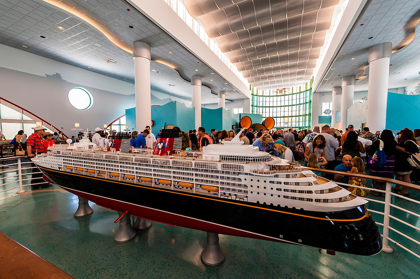 Model of the new Disney Dream cruise ship, Disney Cruise Line terminal (passengers boarding the Disney Dream), Port Canaveral, Florida USA