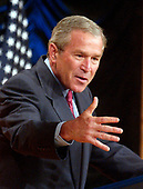 Washington, D.C. - June 15, 2005 -- United States President George W. Bush makes remarks on Energy at the annual Energy Policy Forum at the Ronald Reagan Building and International Trade Center in Washington, D.C. on June 15, 2005.  He again called on Congress to pass his energy plan before the August recess.<br /> Credit: Ron Sachs - Pool via CNP