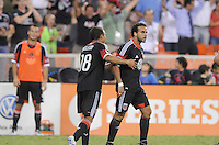 D.C. United forward Dwayne De Rosario (7) celebrates his 100th goal of his career. The New York Red Bulls tied D.C. United 2-2 at RFK Stadium, Wednesday August 29, 2012.