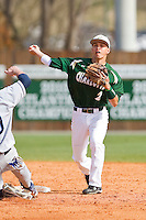 Second baseman Brad Elwood #2 of the Charlotte 49ers turns a double play against the Saint Peter's Peacocks at Robert and Mariam Hayes Stadium on February 18, 2012 in Charlotte, North Carolina.  Brian Westerholt / Four Seam Images
