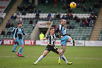 Michael Harriman of Wycombe Wanderers beats Callum Hall of Plymouth Argyle to the ball during the Sky Bet League 2 match between Plymouth Argyle and Wycombe Wanderers at Home Park, Plymouth, England on 30 January 2016. Photo by Mark  Hawkins / PRiME Media Images.