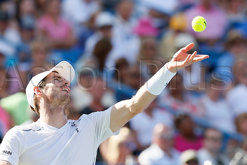 21.08.2016. Mason, Ohio, USA.  Andy Murray (GBR) serves during the Men's Final at The Western & Southern Open in Mason, OH. Marin Cilic (CRO) defeated Andy Murray 6-4, 7-5.