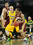 SIOUX FALLS, SD - MARCH 7: Bryant Rucker #21 of Denver drives against A.J. Jacobson from North Dakota State University in the second half of their Summit League Tournament game Saturday night at the Denny Sanford Premier Center in Sioux Falls, SD. (Photo by Dick Carlson/Inertia)