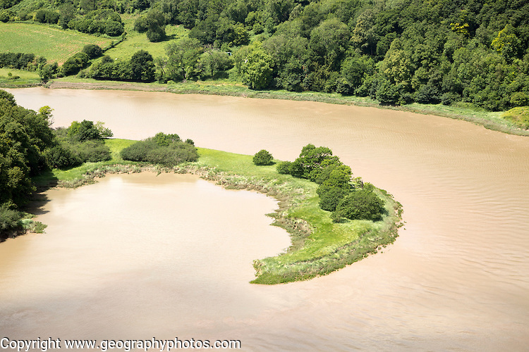 View north over incised meander, gorge and river spit, River Wye, near Chepstow, Monmouthshire, Wales, UK