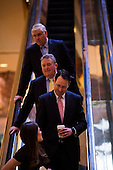 Randall Stephenson, the CEO of AT&T (in front with pink tie) arrives at Trump Tower in Manhattan, New York, U.S., on Thursday, Thursday, January 12, 2017. <br /> Credit: John Taggart / Pool via CNP