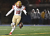 Matthew Mandel #19 of Half Hollow Hills West kicks downfield during Class III Long Island Championship against Plainedge at Shuart Stadium in Hempstead on Saturday, Nov. 24, 2018.