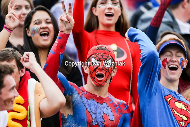 Fans watch the game between the Tulsa Golden Hurricanes and the SMU Mustangs at the Gerald J. Ford Stadium in Dallas, Texas.