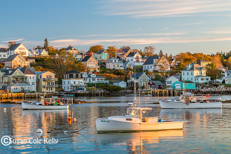 Sunrise on the harbor in Stonington, Maine, USA