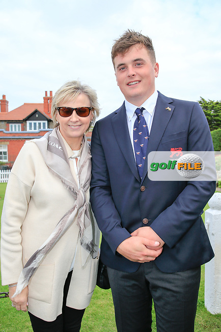 James Sugrue (GB&I) and mam Margaret during the opening ceremony at the Walker Cup, Royal Liverpool Golf CLub, Hoylake, Cheshire, England. 06/09/2019.<br /> Picture Fran Caffrey / Golffile.ie<br /> <br /> All photo usage must carry mandatory copyright credit (© Golffile | Fran Caffrey)