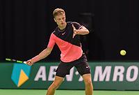 Rotterdam, Netherlands, 10 februari, 2018, Ahoy, Tennis, ABNAMROWTT, Qualifier, Tim van Rijthoven (NED) wins the first set and jubilates<br /> Photo: Henk Koster/tennisimages.com