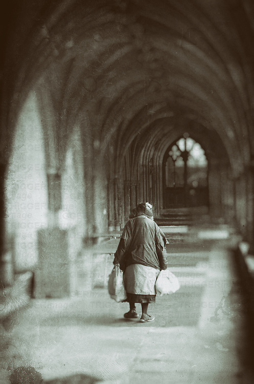 Homeless woman in Norwich Cathedral