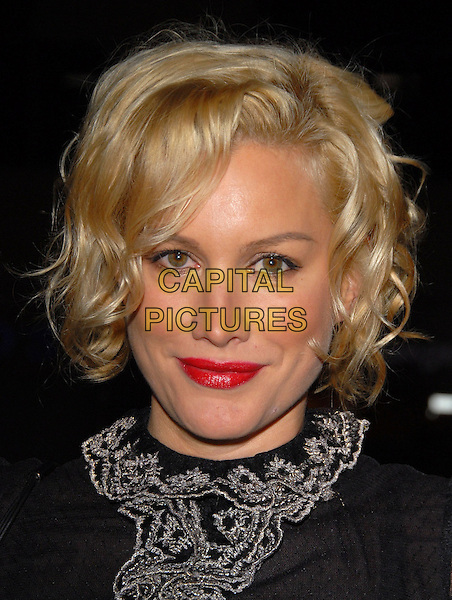 "ALICE EVANS.Attends The Think Films'  L.A. Premiere of ""The TV Set"" held at The Crest Theatre in Westwood, California, USA. .March 27th, 2007.headshot portrait red lipstick black ruffles collar .CAP/DVS.©Debbie VanStory/Capital Pictures"