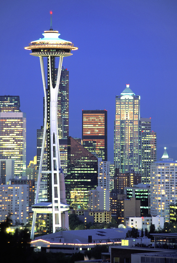 Seattle skyline at dusk, Seattle, Washington