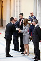 Santiago Auseron, Prince Felipe of Spain and Princess Letizia of Spain attend the National Awards of Culture 2011 and 2012 at Palacio de El Pardo. February 19, 2013. (ALTERPHOTOS/Caro Marin) /NortePhoto